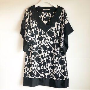 ZARA Womens Black Satin Kimono Tunic Dress Large